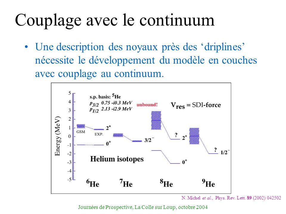 Journées de Prospective, La Colle sur Loup, octobre 2004 Couplage avec le continuum Une description des noyaux près des driplines nécessite le dévelop