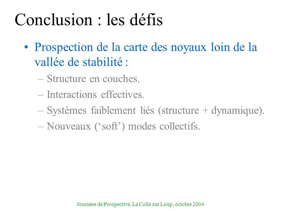 Journées de Prospective, La Colle sur Loup, octobre 2004 Conclusion : les défis Prospection de la carte des noyaux loin de la vallée de stabilité : –S