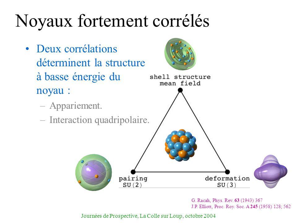 Journées de Prospective, La Colle sur Loup, octobre 2004 Noyaux fortement corrélés Deux corrélations déterminent la structure à basse énergie du noyau
