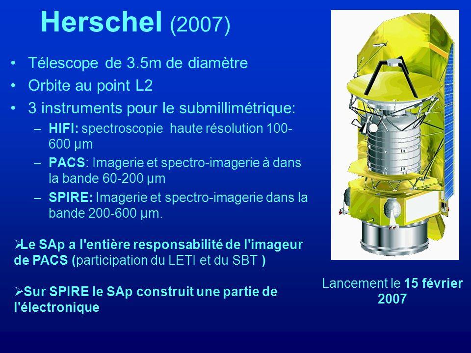 Herschel (2007) Télescope de 3.5m de diamètre Orbite au point L2 3 instruments pour le submillimétrique: –HIFI: spectroscopie haute résolution 100- 600 µm –PACS: Imagerie et spectro-imagerie à dans la bande 60-200 µm –SPIRE: Imagerie et spectro-imagerie dans la bande 200-600 µm.