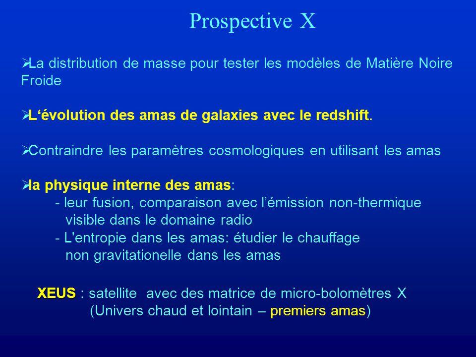 Prospective X La distribution de masse pour tester les modèles de Matière Noire Froide Lévolution des amas de galaxies avec le redshift.