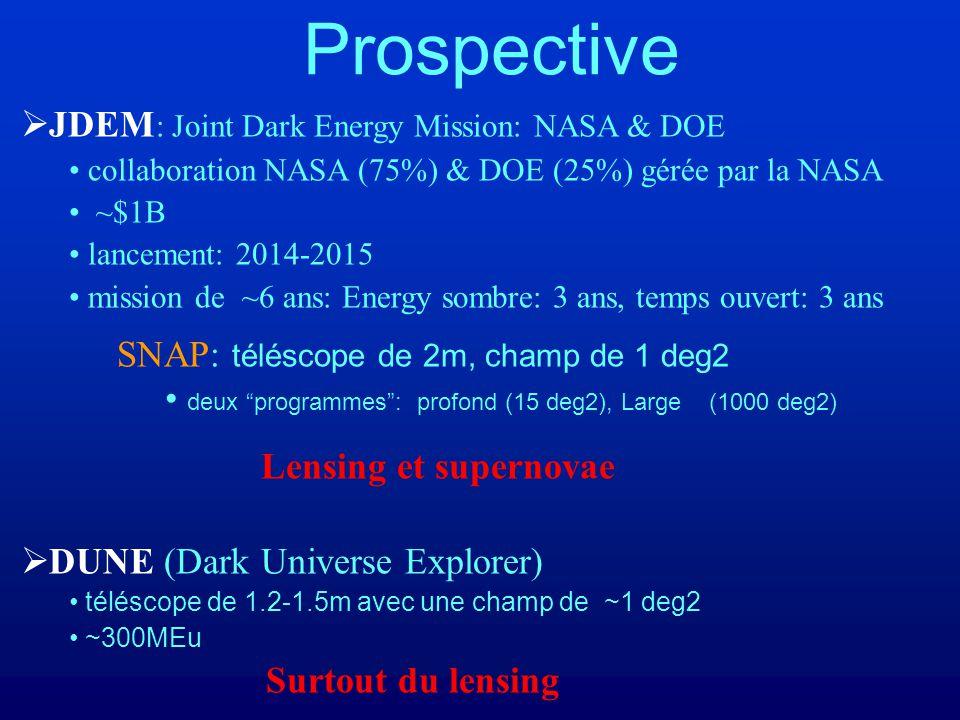 Prospective JDEM : Joint Dark Energy Mission: NASA & DOE collaboration NASA (75%) & DOE (25%) gérée par la NASA ~$1B lancement: 2014-2015 mission de ~6 ans: Energy sombre: 3 ans, temps ouvert: 3 ans SNAP: téléscope de 2m, champ de 1 deg2 deux programmes: profond (15 deg2), Large (1000 deg2) Lensing et supernovae DUNE (Dark Universe Explorer) téléscope de 1.2-1.5m avec une champ de ~1 deg2 ~300MEu Surtout du lensing