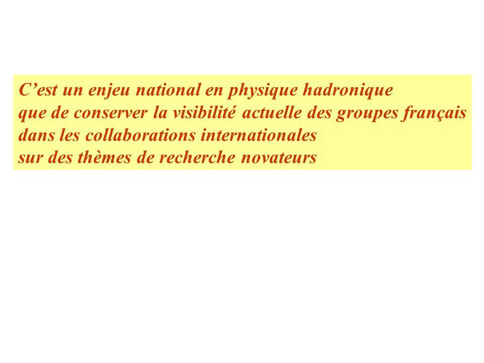 Cest un enjeu national en physique hadronique que de conserver la visibilité actuelle des groupes français dans les collaborations internationales sur des thèmes de recherche novateurs