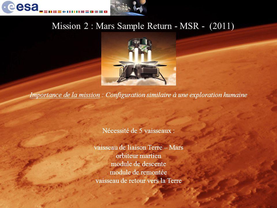 Mission 2 : Mars Sample Return - MSR - (2011) Importance de la mission : Configuration similaire à une exploration humaine Nécessité de 5 vaisseaux :