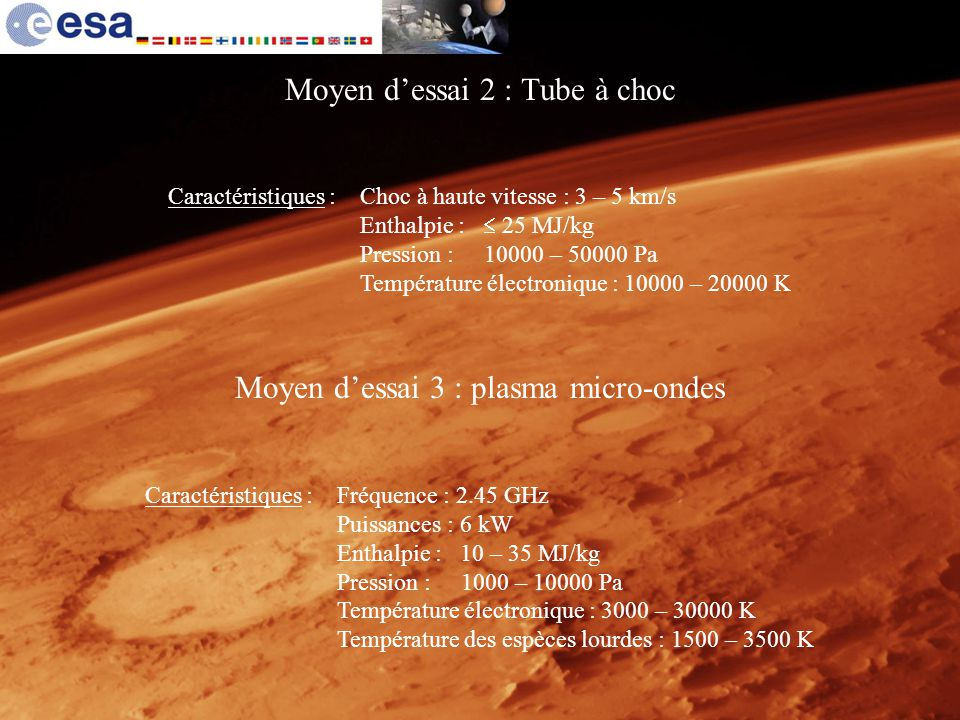 Moyen dessai 2 : Tube à choc Moyen dessai 3 : plasma micro-ondes Caractéristiques :Fréquence : 2.45 GHz Puissances : 6 kW Enthalpie : 10 – 35 MJ/kg Pr