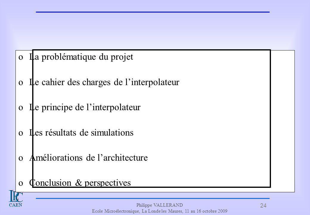 24 Philippe VALLERAND Ecole Microélectronique, La Londe les Maures, 11 au 16 octobre 2009 Plan oLa problématique du projet oLe cahier des charges de l