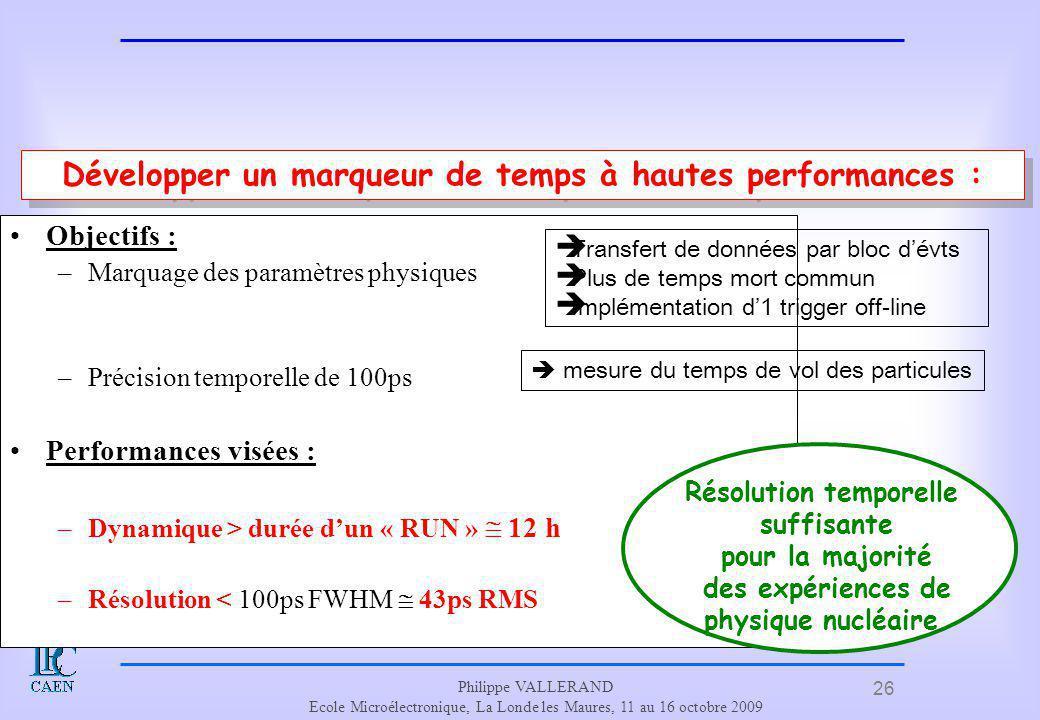 26 Philippe VALLERAND Ecole Microélectronique, La Londe les Maures, 11 au 16 octobre 2009 La problématique Objectifs : –Marquage des paramètres physiq