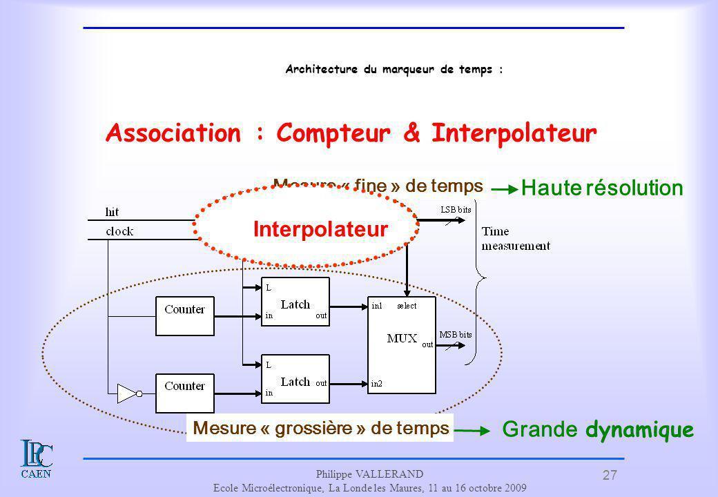 27 Philippe VALLERAND Ecole Microélectronique, La Londe les Maures, 11 au 16 octobre 2009 Architecture du marqueur de temps : Association : Compteur &