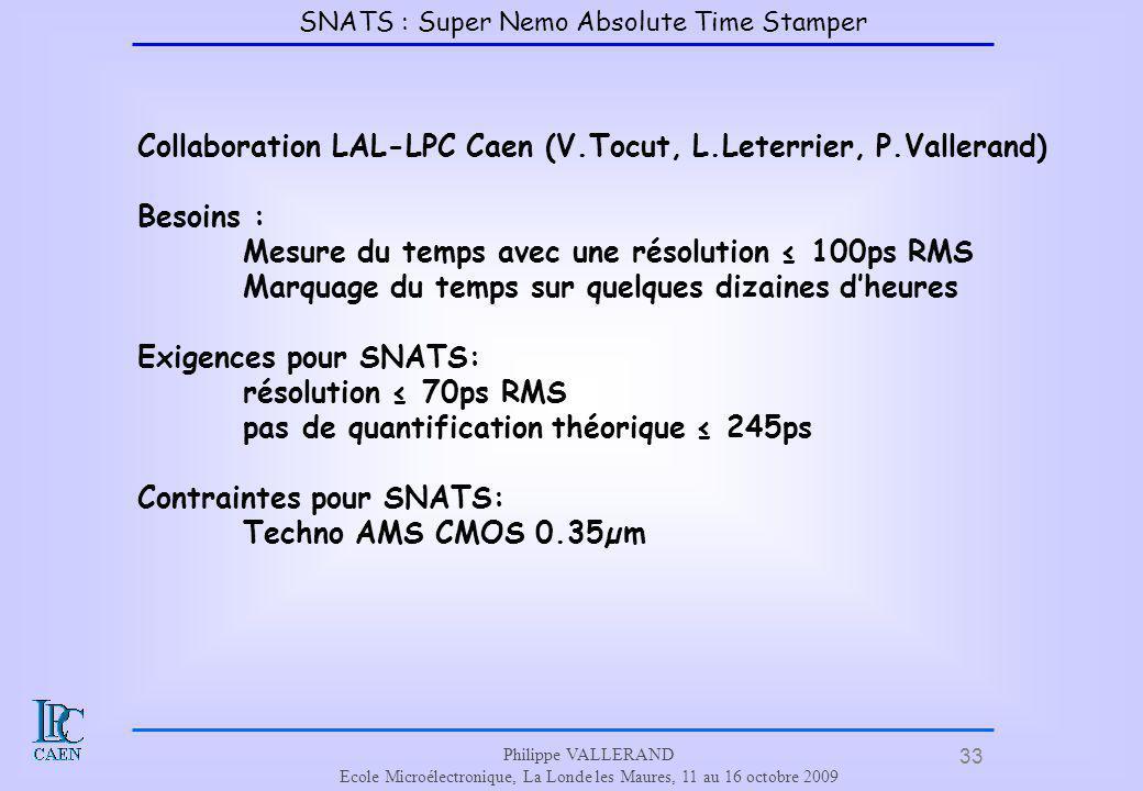 33 Philippe VALLERAND Ecole Microélectronique, La Londe les Maures, 11 au 16 octobre 2009 Collaboration LAL-LPC Caen (V.Tocut, L.Leterrier, P.Valleran