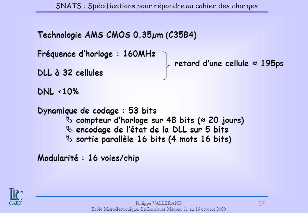 37 Philippe VALLERAND Ecole Microélectronique, La Londe les Maures, 11 au 16 octobre 2009 Technologie AMS CMOS 0.35µm (C35B4) Fréquence dhorloge : 160