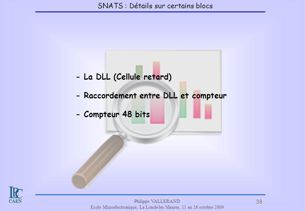 38 Philippe VALLERAND Ecole Microélectronique, La Londe les Maures, 11 au 16 octobre 2009 - La DLL (Cellule retard) - Raccordement entre DLL et compte