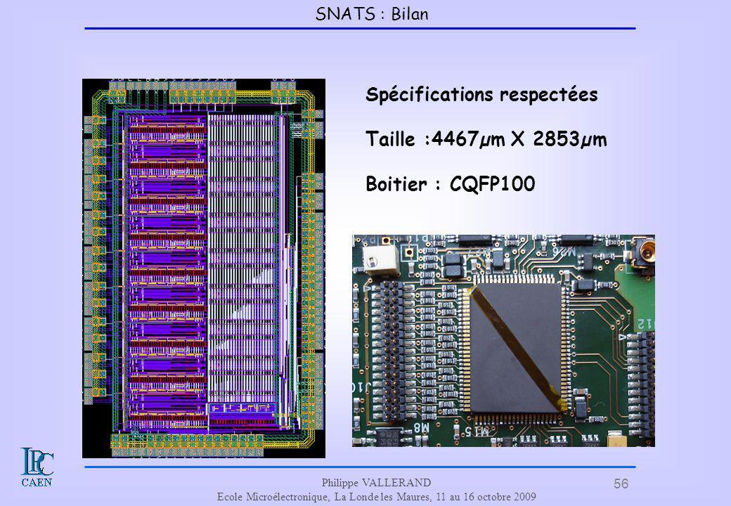 56 Philippe VALLERAND Ecole Microélectronique, La Londe les Maures, 11 au 16 octobre 2009 Spécifications respectées Taille :4467µm X 2853µm Boitier :