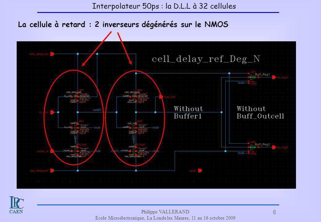 6 Philippe VALLERAND Ecole Microélectronique, La Londe les Maures, 11 au 16 octobre 2009 La cellule à retard : 2 inverseurs dégénérés sur le NMOS Inte