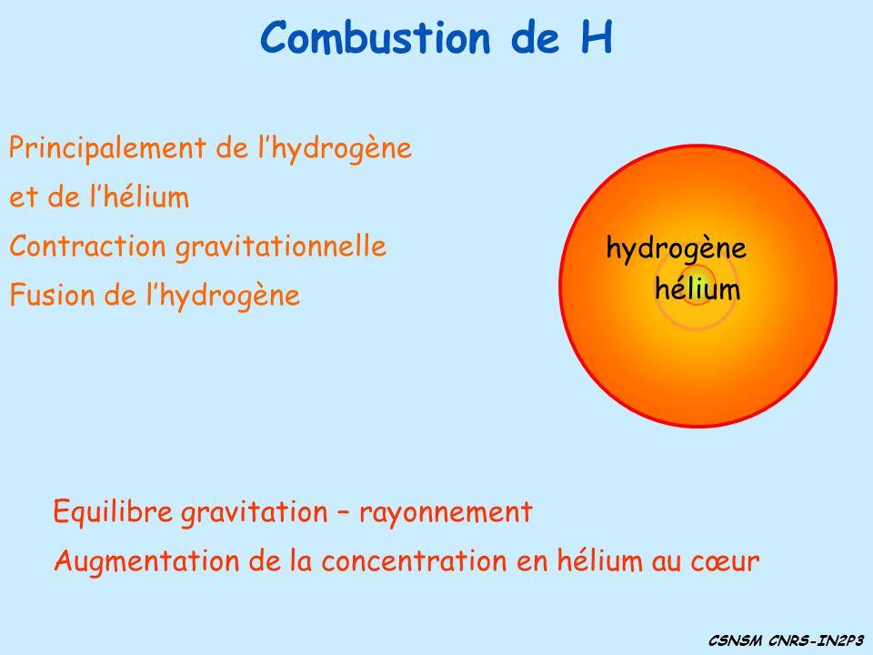 Combustion de H Equilibre gravitation – rayonnement Augmentation de la concentration en hélium au cœur Principalement de lhydrogène et de lhélium Cont