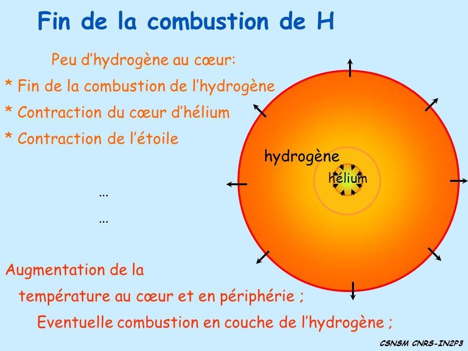 Fin de la combustion de H Augmentation de la température au cœur et en périphérie ; Eventuelle combustion en couche de lhydrogène ; Peu dhydrogène au