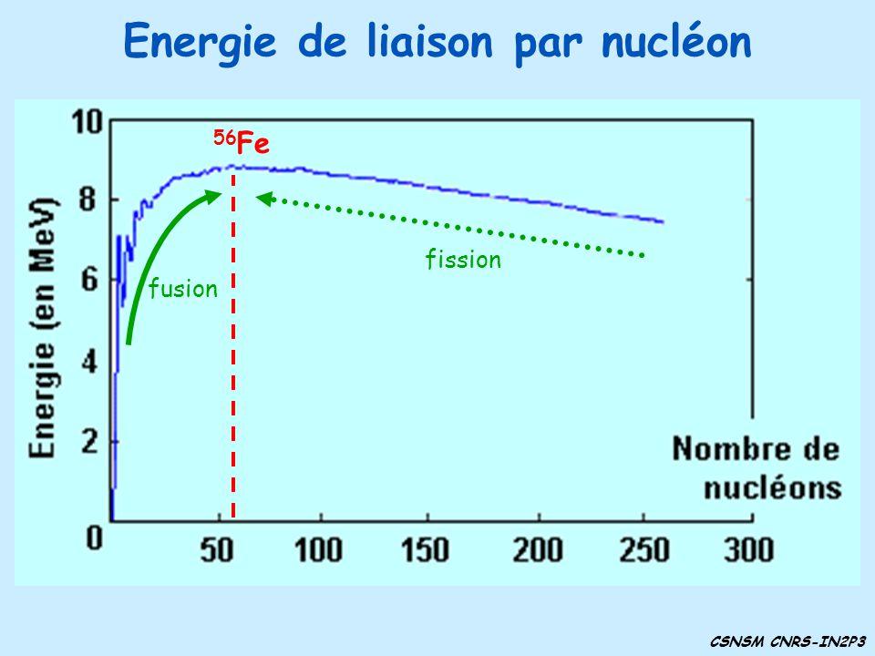 Energie de liaison par nucléon 56 Fe fusion fission CSNSM CNRS-IN2P3