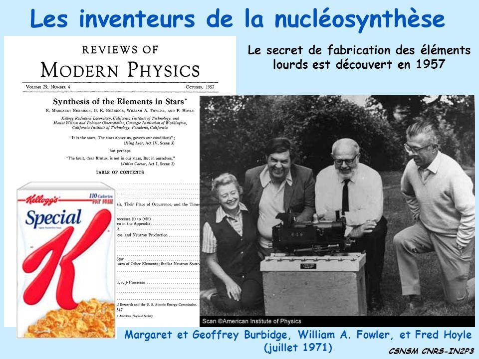Les inventeurs de la nucléosynthèse CSNSM CNRS-IN2P3 Margaret et Geoffrey Burbidge, William A. Fowler, et Fred Hoyle (juillet 1971) Le secret de fabri