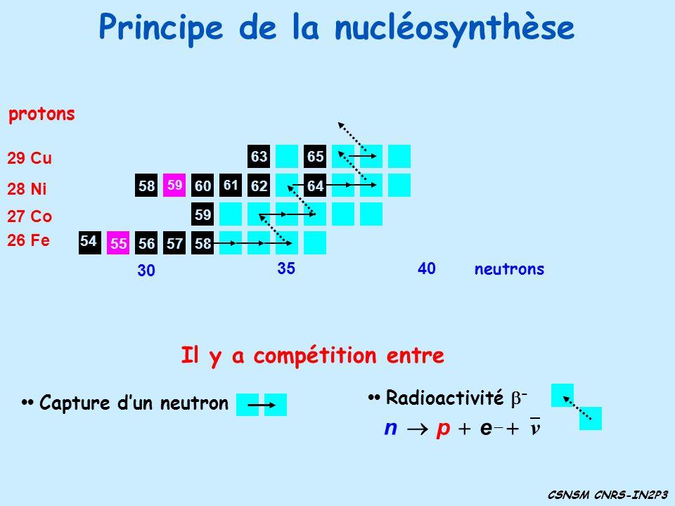 Principe de la nucléosynthèse CSNSM CNRS-IN2P3 61 6058 59 57565855 protons 26 Fe 54 27 Co 28 Ni 29 Cu 62 6365 Capture dun neutron Radioactivité – ν ep