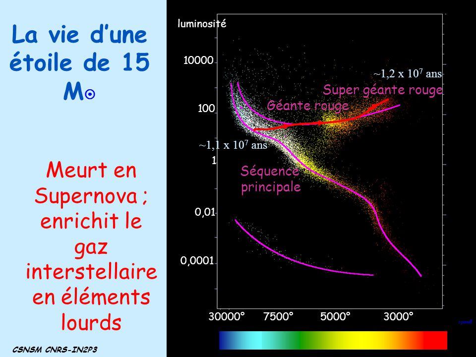 La vie dune étoile de 15 M CSNSM CNRS-IN2P3 3000°5000°7500°30000° 1 100 10000 0,01 0,0001 luminosité Séquence principale Géante rouge Super géante rou
