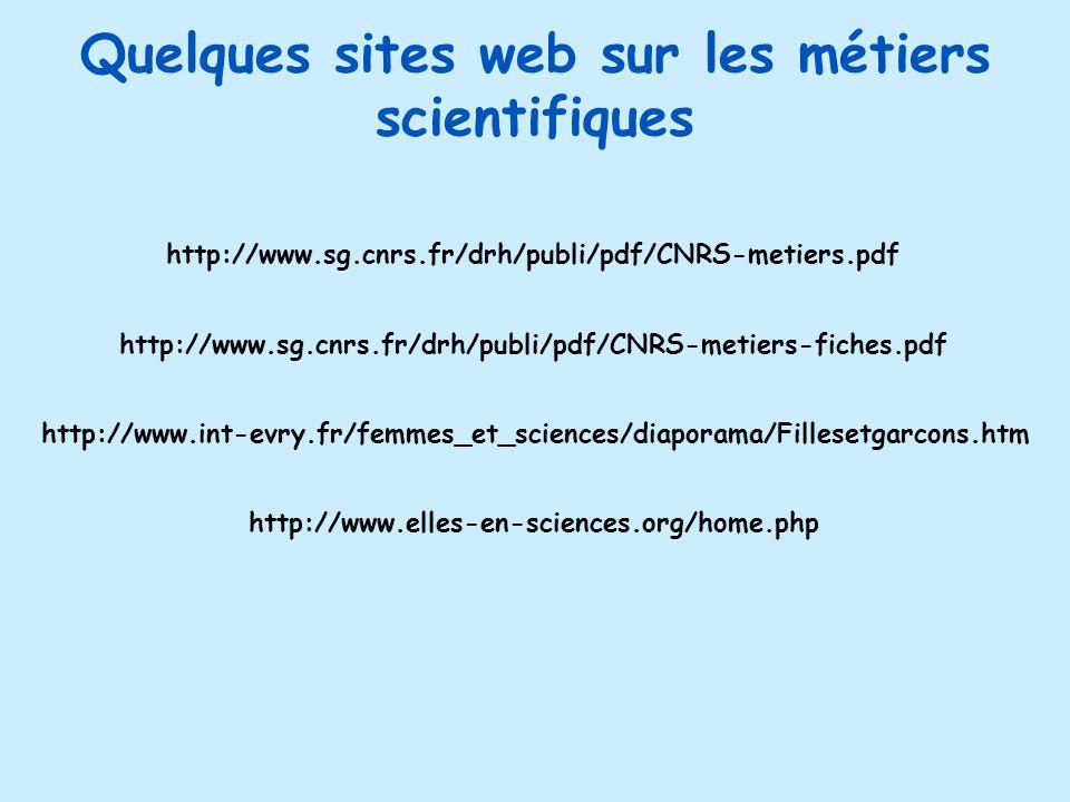 Quelques sites web sur les métiers scientifiques http://www.sg.cnrs.fr/drh/publi/pdf/CNRS-metiers.pdf http://www.sg.cnrs.fr/drh/publi/pdf/CNRS-metiers