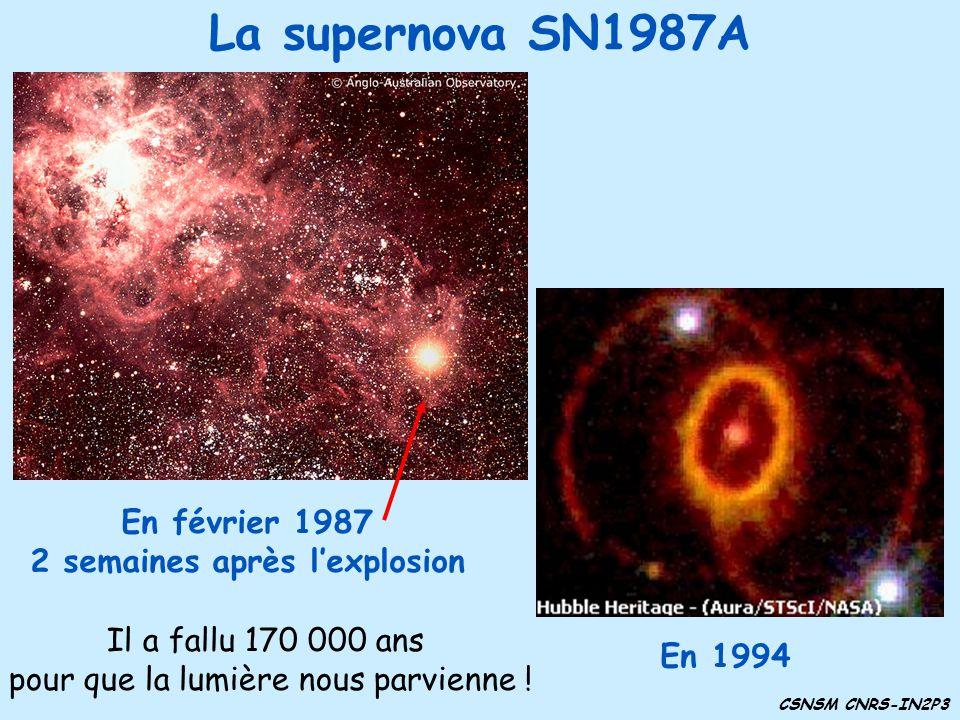 La supernova SN1987A En février 1987 2 semaines après lexplosion En 1994 CSNSM CNRS-IN2P3 Il a fallu 170 000 ans pour que la lumière nous parvienne !