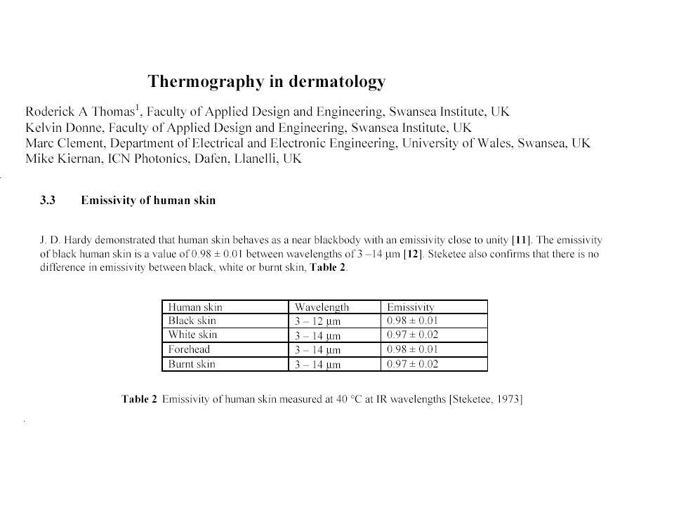 Conclusion 2 Le corps humain présente une forte émission du rayonnement infrarouge moyen.