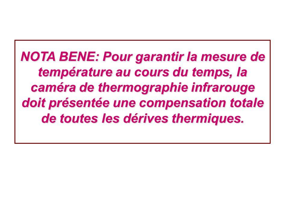 NOTA BENE: Pour garantir la mesure de température au cours du temps, la caméra de thermographie infrarouge doit présentée une compensation totale de t