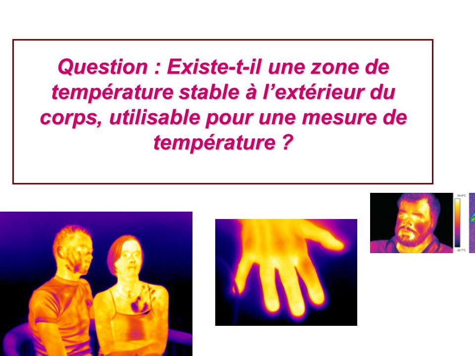 Question : Existe-t-il une zone de température stable à lextérieur du corps, utilisable pour une mesure de température ?