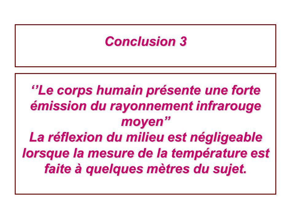 Conclusion 3 Le corps humain présente une forte émission du rayonnement infrarouge moyen La réflexion du milieu est négligeable lorsque la mesure de l