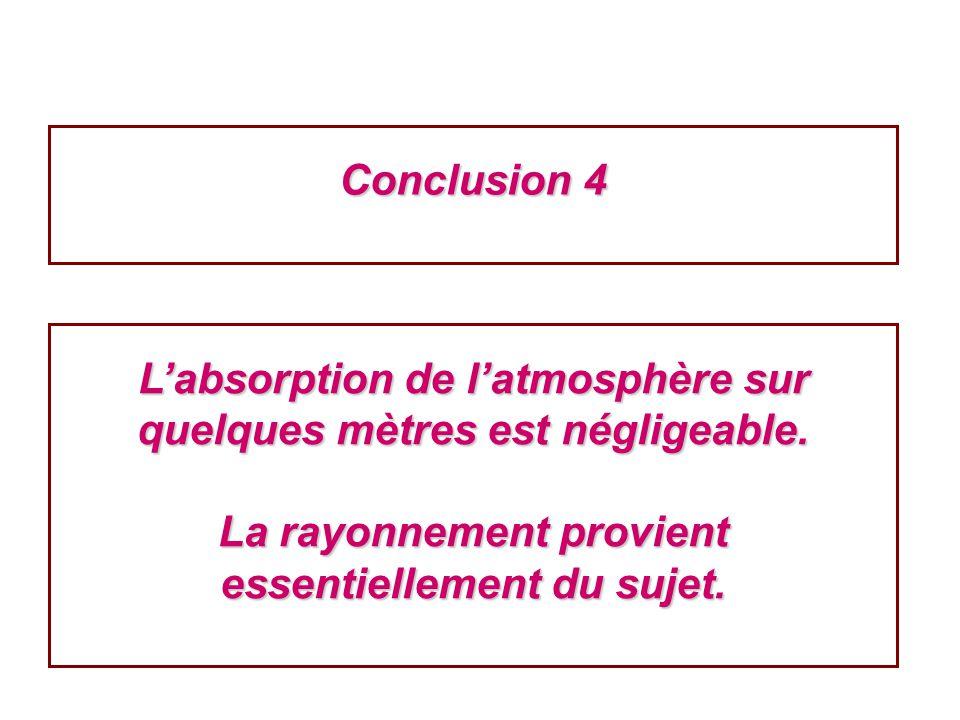 Conclusion 4 Labsorption de latmosphère sur quelques mètres est négligeable. La rayonnement provient essentiellement du sujet.