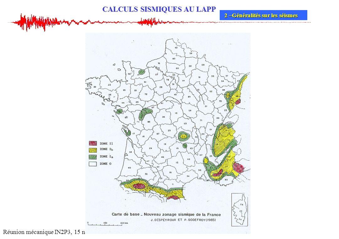 CALCULS SISMIQUES AU LAPP Réunion mécanique IN2P3, 15 novembre 2004 2 –Généralités sur les séismes 2 –Généralités sur les séismes
