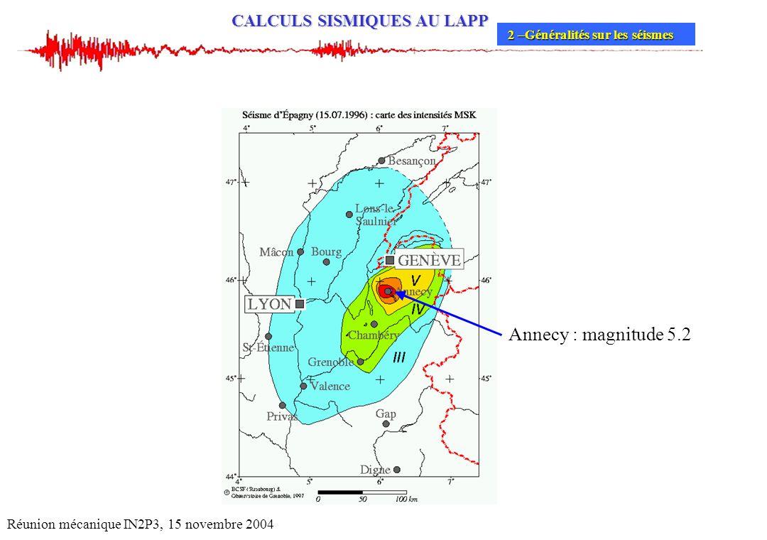 CALCULS SISMIQUES AU LAPP Réunion mécanique IN2P3, 15 novembre 2004 2 –Généralités sur les séismes 2 –Généralités sur les séismes Annecy : magnitude 5