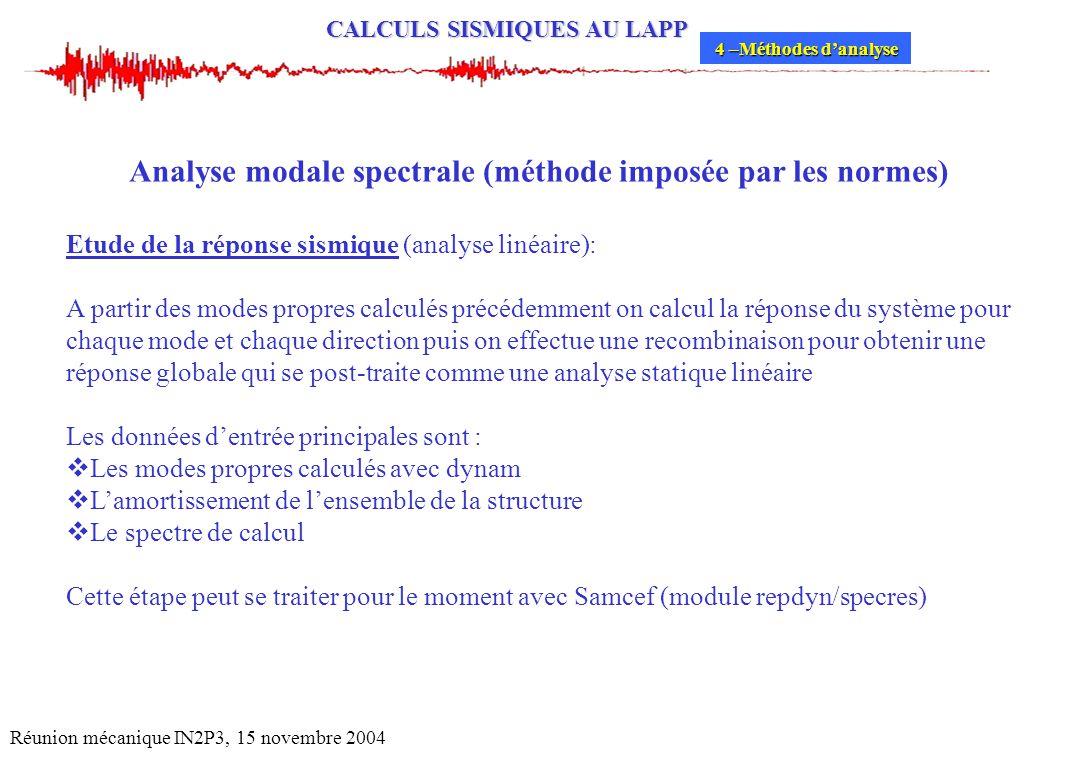 CALCULS SISMIQUES AU LAPP Réunion mécanique IN2P3, 15 novembre 2004 Analyse modale spectrale (méthode imposée par les normes) Etude de la réponse sism