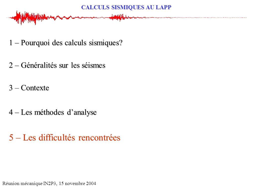 CALCULS SISMIQUES AU LAPP Réunion mécanique IN2P3, 15 novembre 2004 2 – Généralités sur les séismes 1 – Pourquoi des calculs sismiques? 4 – Les méthod