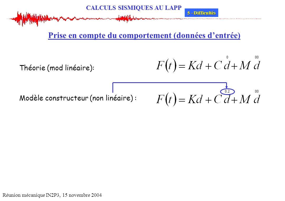 CALCULS SISMIQUES AU LAPP Réunion mécanique IN2P3, 15 novembre 2004 Prise en compte du comportement (données dentrée) Théorie (mod linéaire): Modèle c