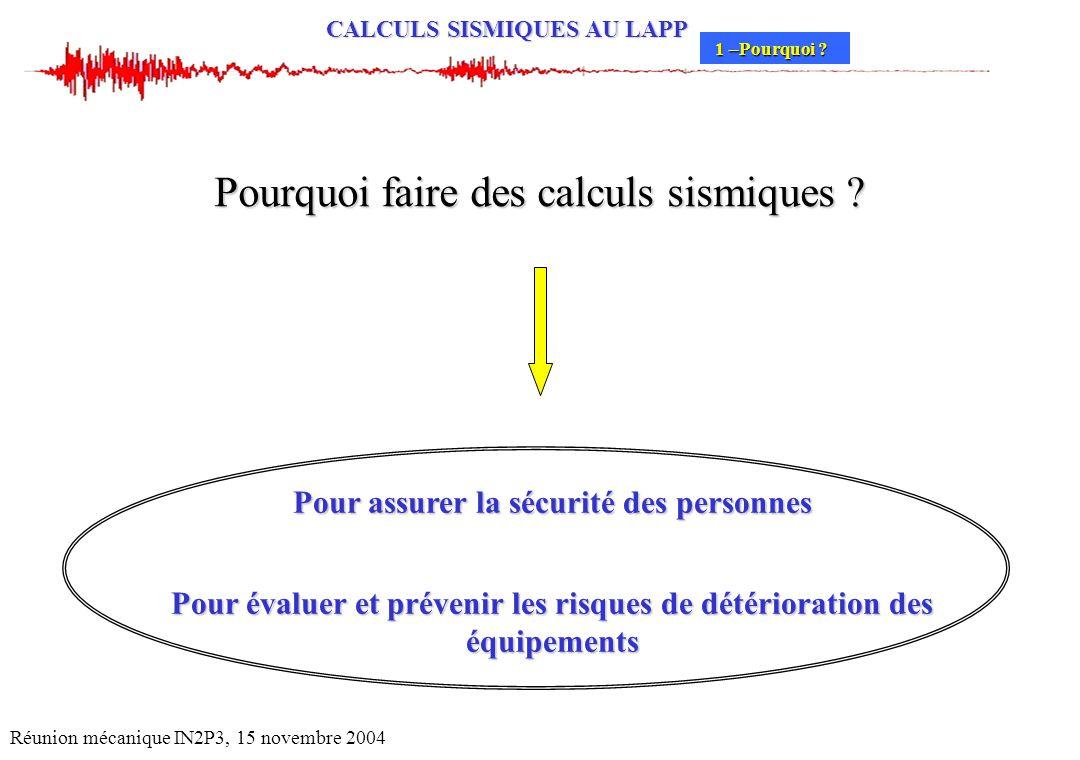CALCULS SISMIQUES AU LAPP Réunion mécanique IN2P3, 15 novembre 2004 Pourquoi faire des calculs sismiques ? Pour assurer la sécurité des personnes Pour