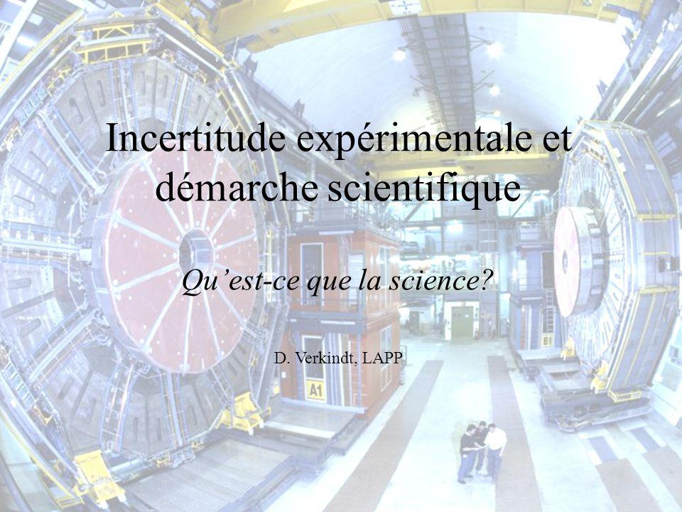 27 Fevrier 2004Lycee St Francois, Ville-la-Grand1 Incertitude expérimentale et démarche scientifique Quest-ce que la science? D. Verkindt, LAPP