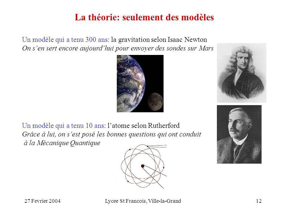 27 Fevrier 2004Lycee St Francois, Ville-la-Grand12 La théorie: seulement des modèles Un modèle qui a tenu 300 ans: la gravitation selon Isaac Newton O