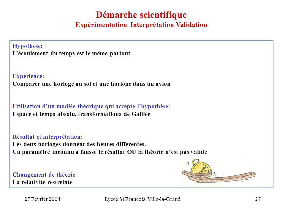 27 Fevrier 2004Lycee St Francois, Ville-la-Grand27 Hypothese: Lécoulement du temps est le même partout Expérience: Comparer une horloge au sol et une