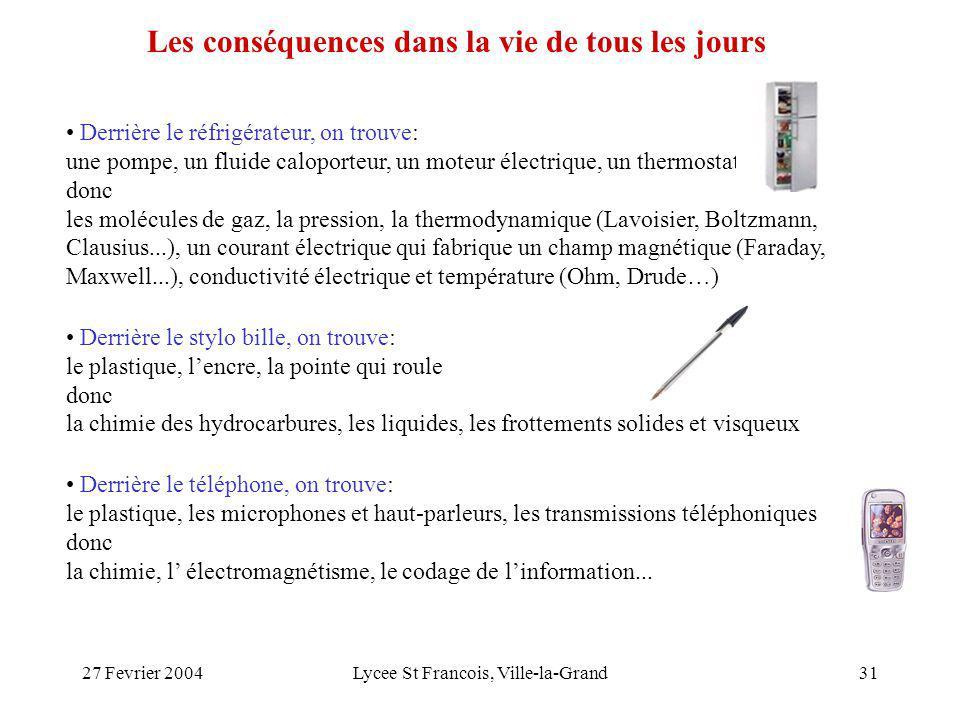 27 Fevrier 2004Lycee St Francois, Ville-la-Grand31 Derrière le réfrigérateur, on trouve: une pompe, un fluide caloporteur, un moteur électrique, un thermostat donc les molécules de gaz, la pression, la thermodynamique (Lavoisier, Boltzmann, Clausius...), un courant électrique qui fabrique un champ magnétique (Faraday, Maxwell...), conductivité électrique et température (Ohm, Drude…) Derrière le stylo bille, on trouve: le plastique, lencre, la pointe qui roule donc la chimie des hydrocarbures, les liquides, les frottements solides et visqueux Derrière le téléphone, on trouve: le plastique, les microphones et haut-parleurs, les transmissions téléphoniques donc la chimie, l électromagnétisme, le codage de linformation...