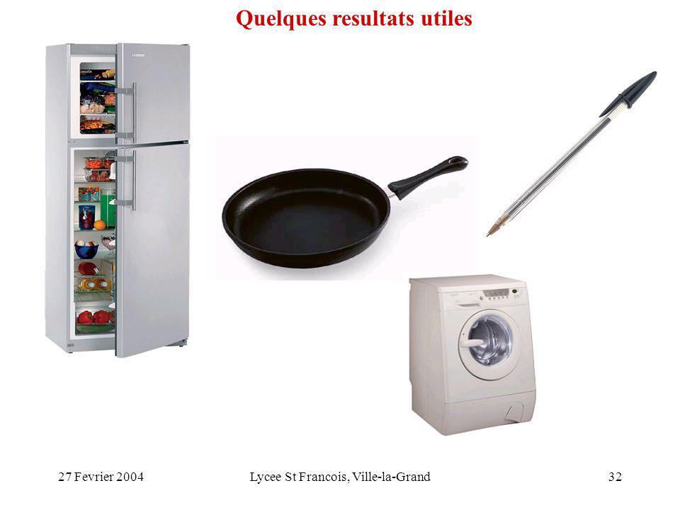 27 Fevrier 2004Lycee St Francois, Ville-la-Grand32 Quelques resultats utiles