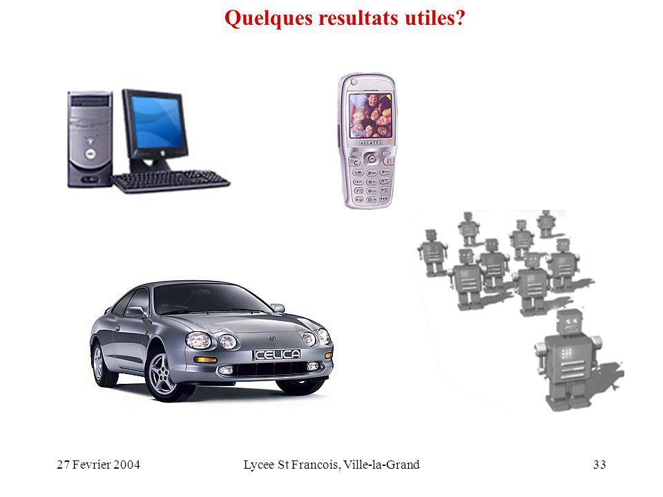 27 Fevrier 2004Lycee St Francois, Ville-la-Grand33 Quelques resultats utiles?