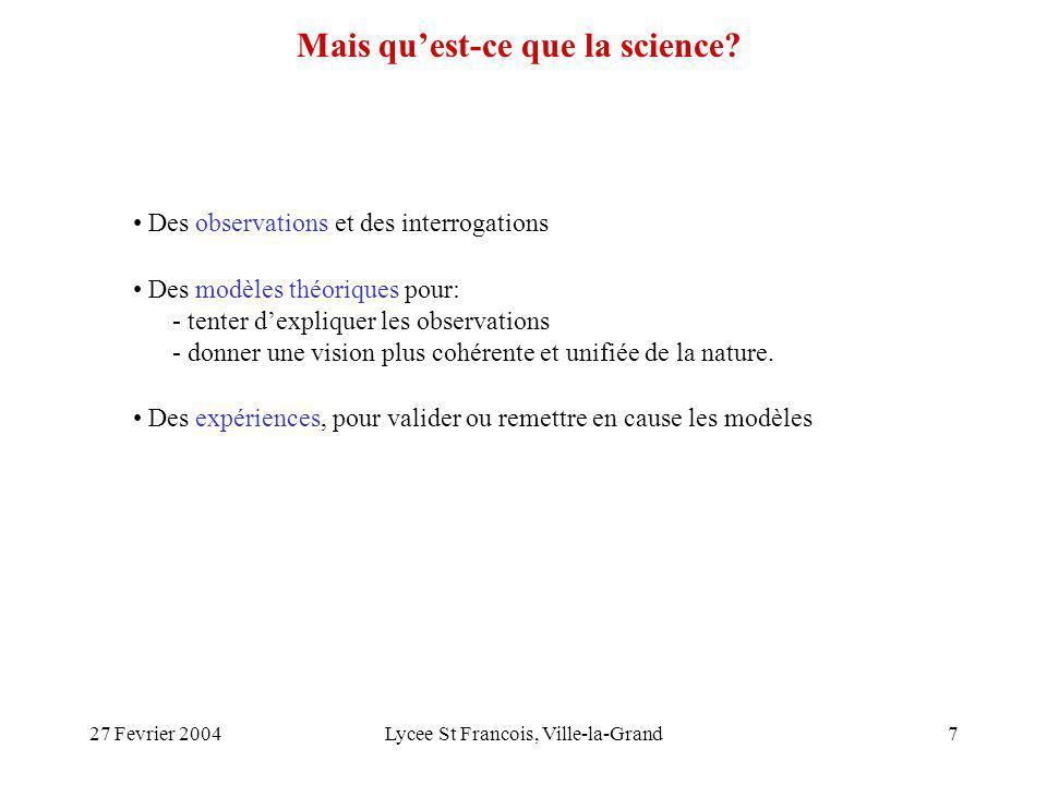 27 Fevrier 2004Lycee St Francois, Ville-la-Grand8 théorie expérience Incertitudes des modèles Domaine de validité Incertitudes expérimentales Interprétations des résultats La science sur deux pieds On parle de science, lorsque les théories élaborées pour décrire la nature sont réfutables par des expériences