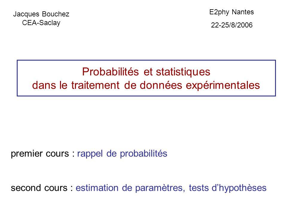 Probabilit és et statistiques dans le traitement de donn ées expérimentales premier cours : rappel de probabilités second cours : estimation de paramètres, tests dhypothèses Jacques Bouchez CEA-Saclay E2phy Nantes 22-25/8/2006