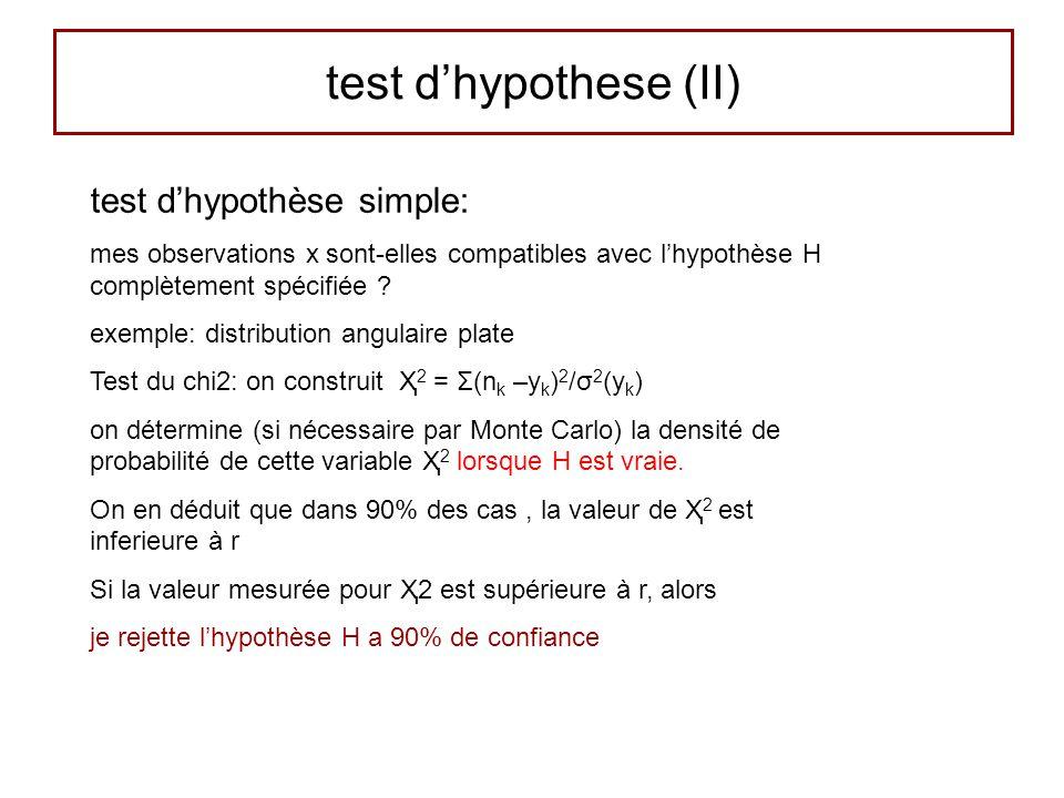 test dhypothese (II) test dhypothèse simple: mes observations x sont-elles compatibles avec lhypothèse H complètement spécifiée .