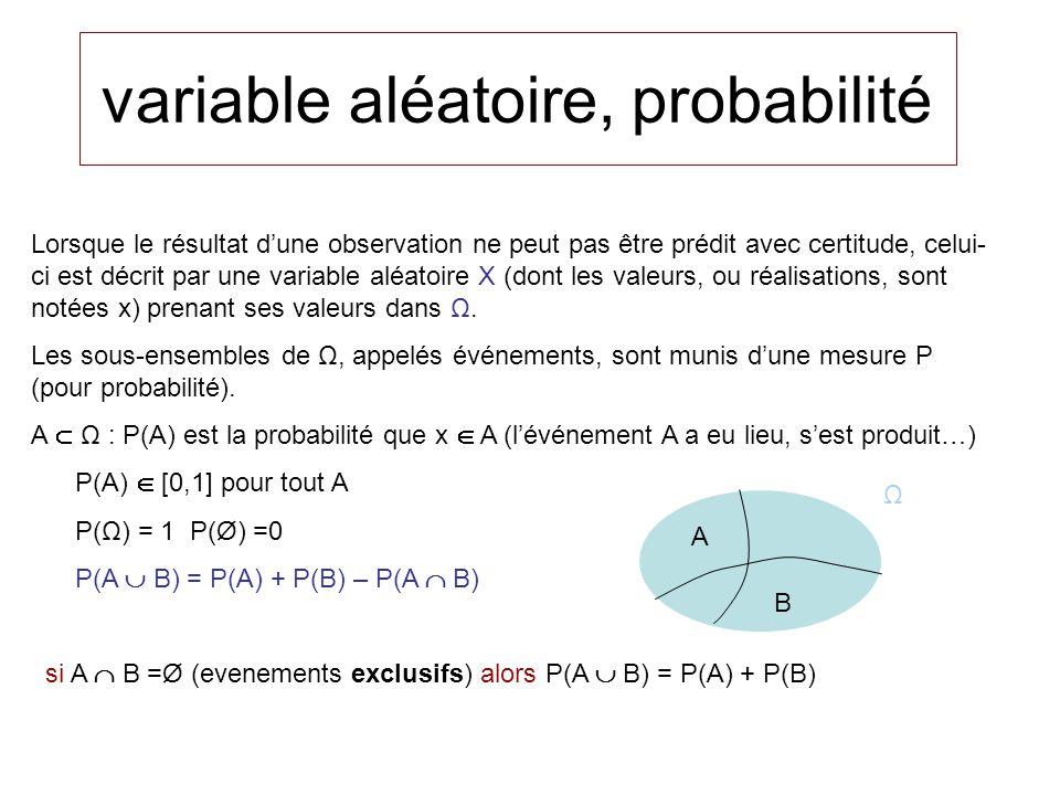 variable al éatoire, probabilité Lorsque le résultat dune observation ne peut pas être prédit avec certitude, celui- ci est décrit par une variable aléatoire X (dont les valeurs, ou réalisations, sont notées x) prenant ses valeurs dans Ω.