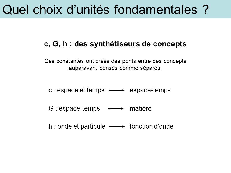Quel choix dunités fondamentales ? c, G, h : des synthétiseurs de concepts Ces constantes ont créés des ponts entre des concepts auparavant pensés com