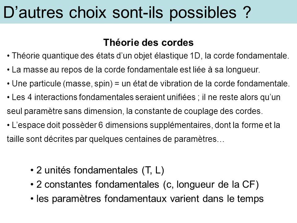 Dautres choix sont-ils possibles ? 2 unités fondamentales (T, L) 2 constantes fondamentales (c, longueur de la CF) les paramètres fondamentaux varient