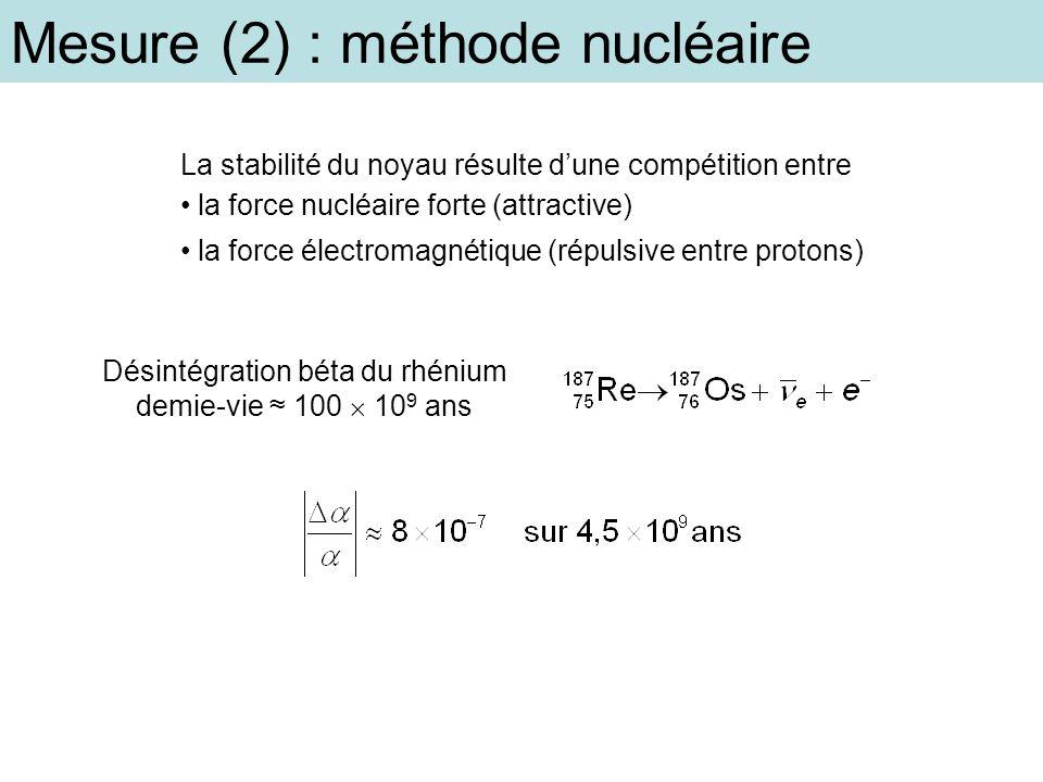 Mesure (2) : méthode nucléaire La stabilité du noyau résulte dune compétition entre la force nucléaire forte (attractive) la force électromagnétique (
