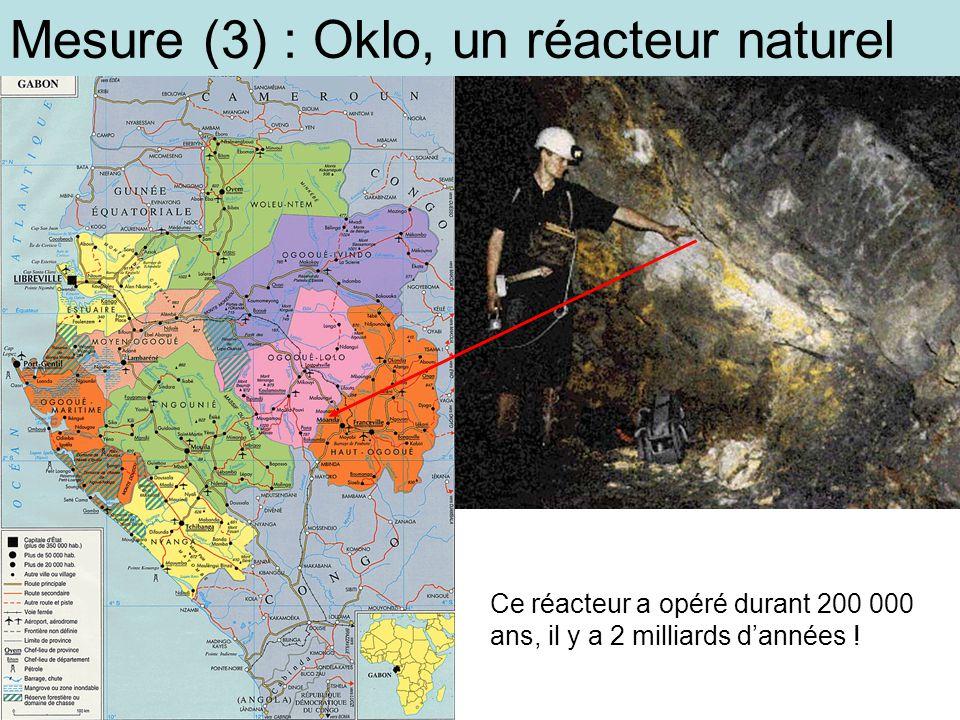 Mesure (3) : Oklo, un réacteur naturel Ce réacteur a opéré durant 200 000 ans, il y a 2 milliards dannées !